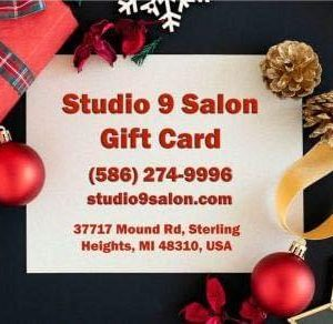 holiday gift card logo studio 9 salong